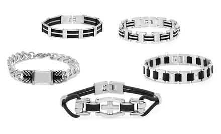 Men's Stainless Steel Bracelets with Black Accents from $19.99–$22.99
