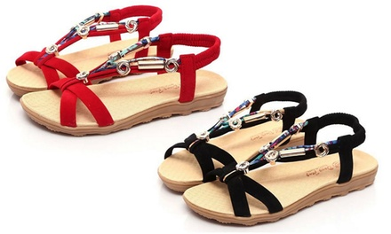 Womens Flat Ankle Strap Sandals