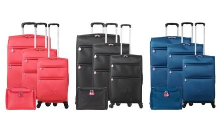 Set composto da 3 valigie e 1 beauty case in tessuto Floppy-C Lulu Castagnette disponibile in vari colori