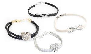(Bijou)  Bracelet PU cristaux Swarovski® -84% réduction