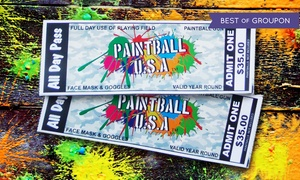 Paintball USA Tickets: 2, 4, 6, or 12 Paintball Passes with Safety Gear and Gun Rental from Paintball USA Tickets (Up to 88% Off)