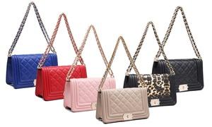 Vegan-Leather Quilted Crossbody Handbag