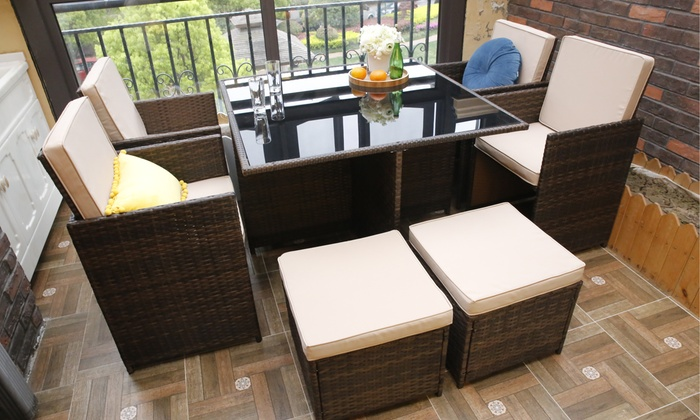 Nine-Piece Eton Cube Rattan-Effect Outdoor Set with Optional Cover