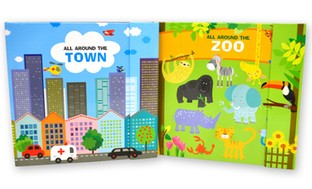 All Around Places Children's Board Book Set (2-Pack)