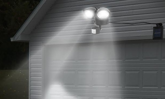 Solar powered twin head led security light 1 or 2 pack groupon solar powered twin head led security light 1 or 2 pack mozeypictures Gallery