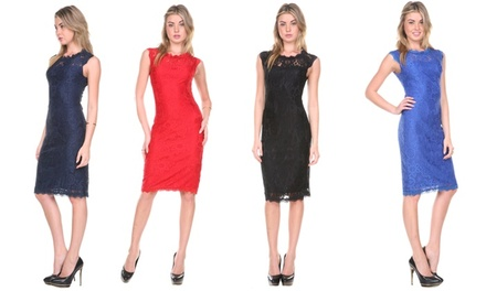 Stanzino Women's Lace-Overlay Cocktail Dress in Black, Red, Navy, or Blue