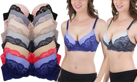 Women's Satin Contrast Lace Supportive Bras (6-Pack) 0548c95d-8bf9-4dec-91c5-f0d664261d20