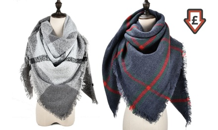 One or Two Oversize Plaid Scarves in Choice of Design