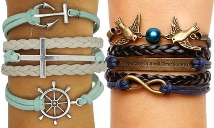 Bracelets Infinity de la marque Brilliant ideas, en simili cuir et métal argenté, modèle au choix, à 5,90€