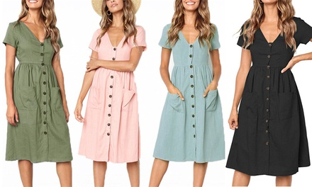 Button Front Midi Dress: One $19 or Two $29.95