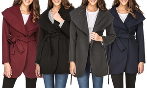 Women's Wool Blend Shawl Collar Wrap Coat. Plus Sizes Available.