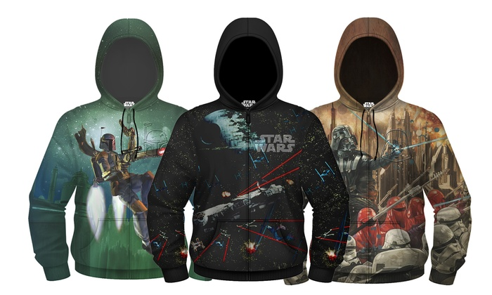 Men's Star Wars Darth Vader Space Battle-Embossed HD Zip-Up Hoodies