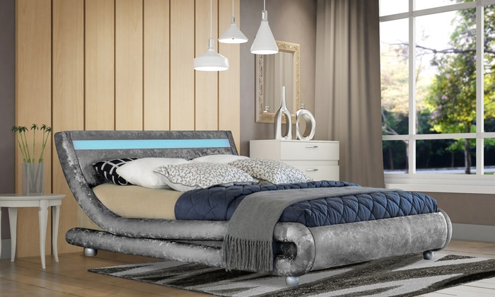 Crushed Velvet Prague Bedframe with Optional Mattress