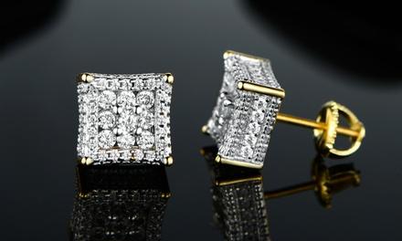 Men's Sterling Silver Micropave Cubic Zirconia Earrings