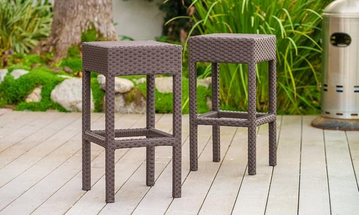 Set of 2 Rudolfo Outdoor Backless Barstools: Set of 2 Rudolfo Outdoor Backless Barstools