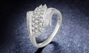 3/8 CTTW Round and Baguette Diamond Twist Ring in Sterling Silver