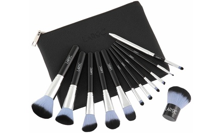 LaRoc 12 Piece Make Up Brush Set with Faux Leather Case