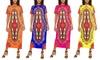 NF Ankle-Long Short-Sleeve Stretch Dashiki Dress