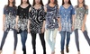 Women's Cold Shoulder Spring Printed Tunic Top. Plus Sizes Available.
