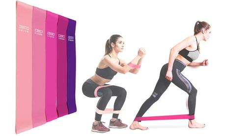1 o 2 packs de 5 bandas de fitness de diferentes colores y niveles de resistencia