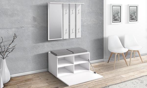 meuble de couloir sesley avec armoire miroir et banc de rangement