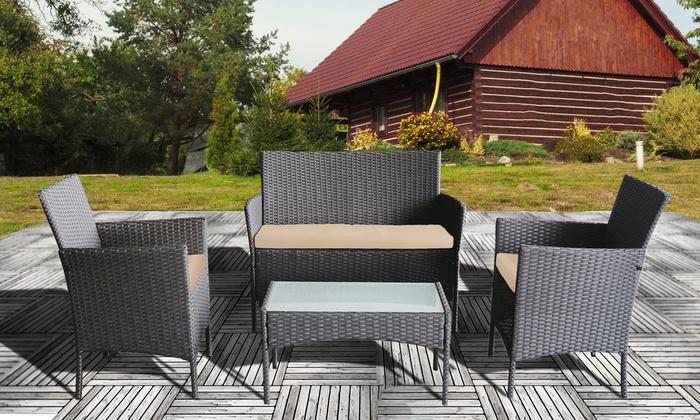 Four-Piece Rattan-Effect Furniture Set