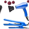 Blue Traveling Holiday Kit: Travel Dryer, Duet Flat Iron, and Brush