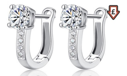 One £3.98 or Two £6.98 SilverPlated Hoop Earrings Set with Crystals from Swarovski®