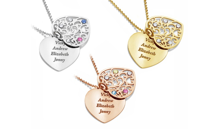 Up to 83 off on personalized two hearts necklace groupon goods two hearts necklace with personalized engraving aloadofball Image collections