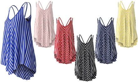 Women's Swing Vest Top in Stripe Print