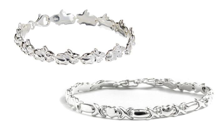 Italian Sterling Silver Rabbit Or Xoxo Stampato Bracelet