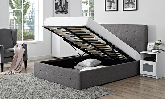 Verona Fabric Storage Ottoman Bed with Optional Mattress from £175