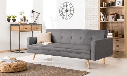 Canapé convertible scandinave avec pieds en bois, livraison offerte