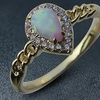 2.50 CTTW Pear Shaped White Opal Ring in 18K Yellow Gold Plating