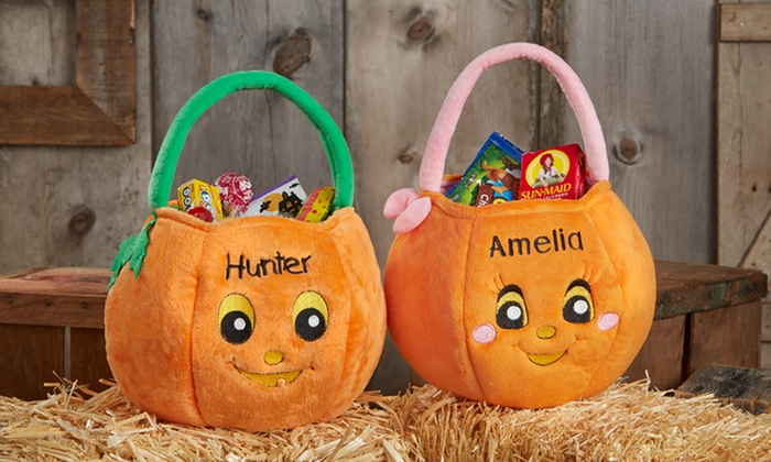 Personalized Plush Pumpkin Trick Or Treat Bag From Personalization Mall 48 Off Two Options Available
