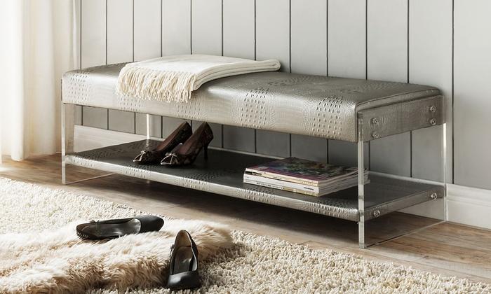 chaplan modern bonded fauxleather acrylic bench with bottom shelf chaplan modern bonded faux - Acrylic Bench