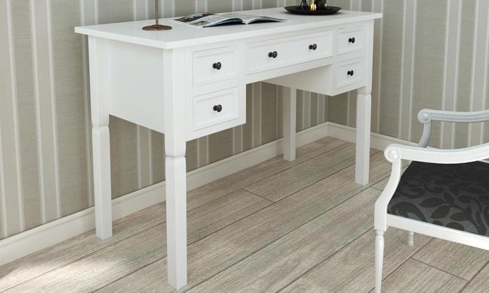 Bureau blanc avec 5 tiroirs groupon shopping