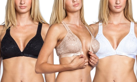 3-Pack of Wireless Front Closure Lace Women's Bras