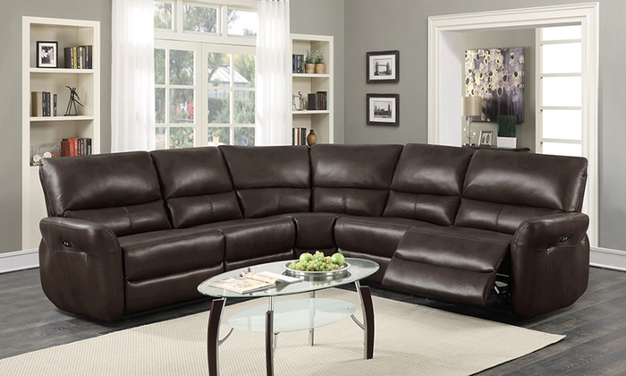 Amaris bonded leather reclining sectional sofa with usb for Leather sofa deals