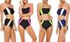 Women's High-Waisted Bikini Set (2-Piece): Women's Color-Block High-Waisted Bikini Set (2-Piece)
