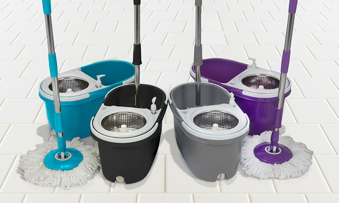 Dual-Spin Mop with Clean and Dirty Water Bucket, Spinner and Two or Five Replacement Heads