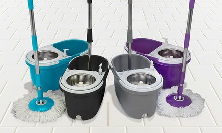 Dual Spin Mop with Clean and Dirty Water Bucket, Spinner and Two or Five Replacement Heads
