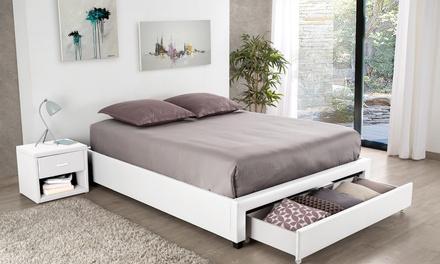 jusqu 39 66 lit avec sommier int gr groupon. Black Bedroom Furniture Sets. Home Design Ideas