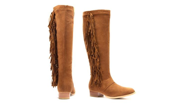 Olive Street Julia Microsuede Fringe Knee-High Boots (6 & 6.5 ...