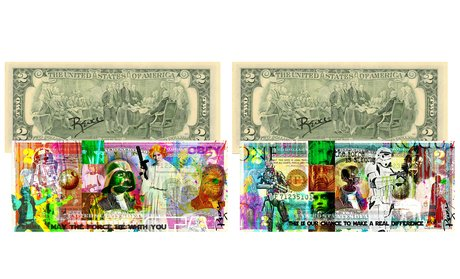 Original Star Wars and Rogue One Signed U.S. $2 Bill Set (2-Piece)