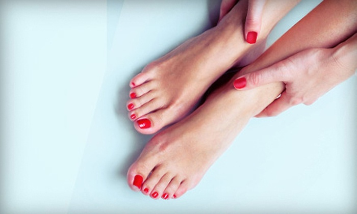 Hello Gorgeous - Cherry Creek: One or Two Classic Manicures with Luxe Pedicures at Hello Gorgeous (Up to 54% Off)