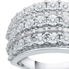 1/2 CTTW Diamond Multi Row Cluster Ring in Sterling Silver by Decarat