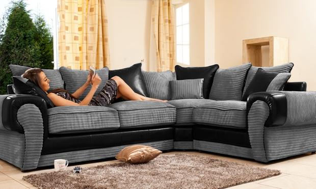 Right Hand Corner Sofa Charcoal Black