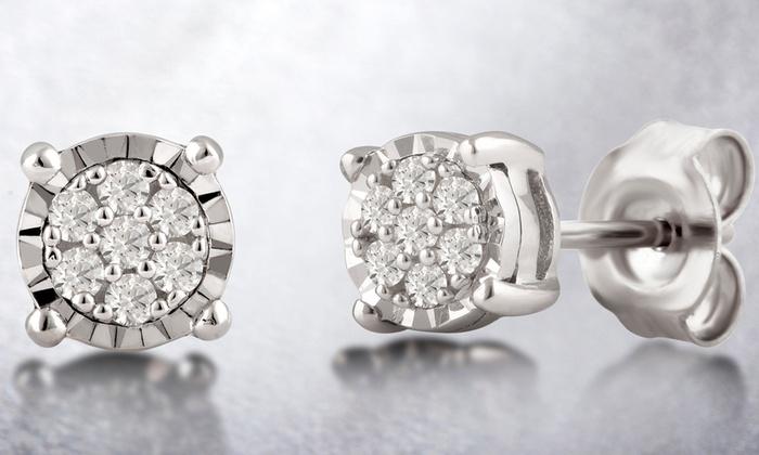 f3e4020dc 1/10 CTTW Diamond Stud Earrings in Sterling Silver By DiamondMuse