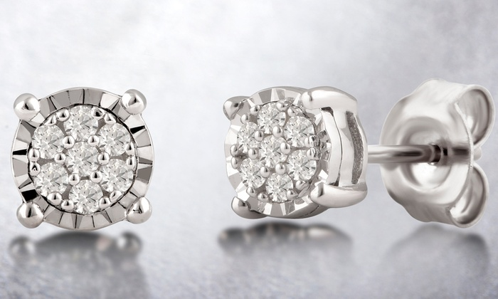 b7bb3fdf4 1/10 CTTW Diamond Cluster Stud Earrings in Sterling Silver By DiamondMuse